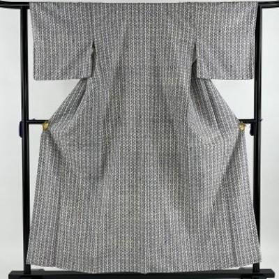 小紋 美品 秀品 落款 紬地 幾何学 灰色 袷 身丈155.5cm 裄丈63.5cm S 正絹 中古