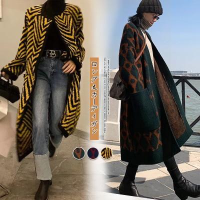 2020新しい秋と冬のニットカーディガンセーターロングヒットカラー膝上厚いレトロなルーズコートの女性9P371