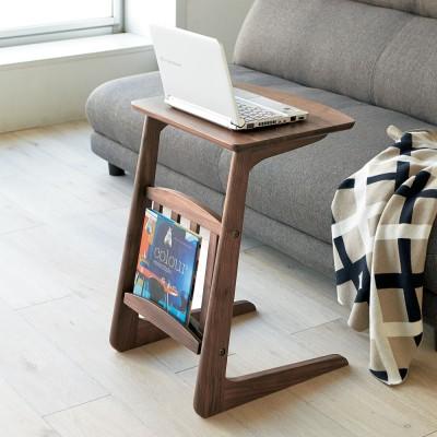 カフェ風天然木ソファサイドテーブル 幅40cm ダークブラウン