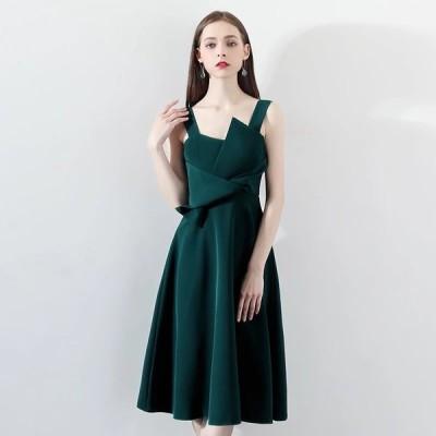 パーティードレス  ミニドレス ワンピース フロントデザイン グリーン 緑【XS-XXLサイズ】