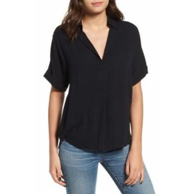 Split スプリット ファッション トップス All In Favor Womens Blouse Black Size Large L Split Neck Button Back