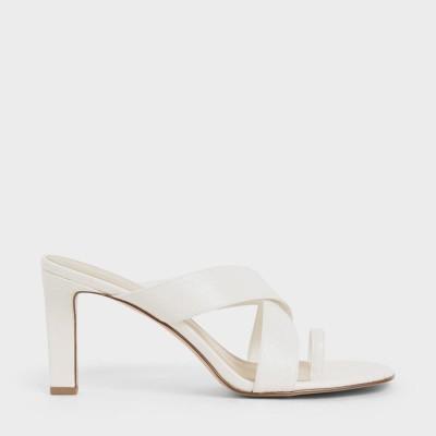 【再入荷】クロックエフェクト クリスクロスヒールスリッポン / Croc-Effect Criss Cross Heeled Slip-Ons (White)