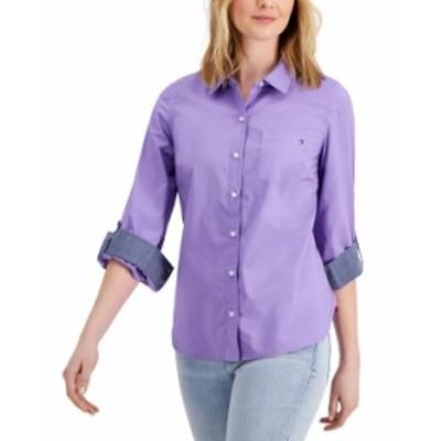 トミー ヒルフィガー レディース シャツ トップス Roll-Tab Button-Up Shirt Wisteria