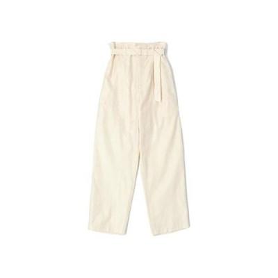 ◆[ギャルリー ヴィー] ロングパンツ コットン サテン ベルテッド ワイドパンツ レディース 32(5号) 11 ホワイト