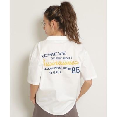 (DOUBLE NAME/ダブルネーム)BACK刺繍シャツ/レディース オフ白