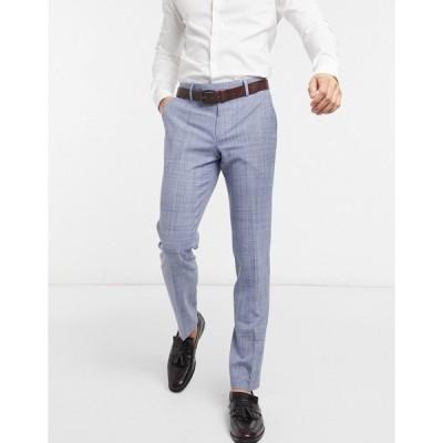 エイソス メンズ カジュアルパンツ ボトムス ASOS DESIGN wedding skinny suit pants in navy crosshatch Navy