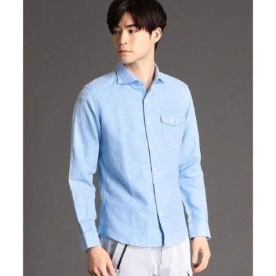 シャツ ブラウス 綿麻ツイル長袖シャツ