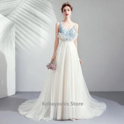 ノースリーブ白ロングパーティードレス透け感レースVネック細身着痩せイブニングドレス20代30代結婚式花嫁二次会演奏会誕生日