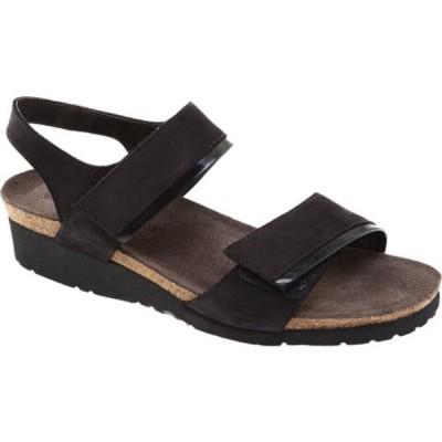 ナオト サンダル シューズ レディース Aisha Ankle Strap Wedge Sandal (Women's) Black Velvet/Nubuck Leather/Black Madras