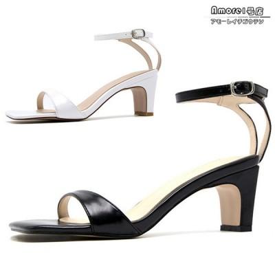 サンダル スクエアトゥ アンクルストラップ セパレート チャンキーヒール 6cm 低反発 美脚 シューズ 靴 レディース