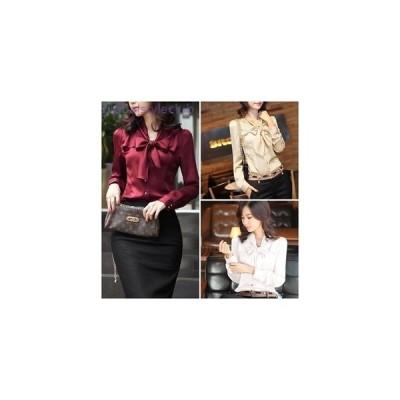 ボウタイ付 光沢 サテン調 ブラウス シャツ シック きれいめ 長袖 無地 リボン フェミニン 通勤 オフィス OL 大人 エレガント レディース
