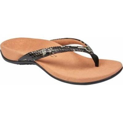 バイオニック レディース サンダル シューズ Dillon Thong Sandal Black Boa Leather