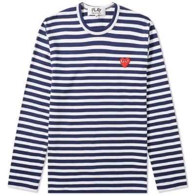 コム デ ギャルソン Comme des Garcons Play メンズ 長袖Tシャツ ロゴTシャツ トップス Long Sleeve Heart Logo Stripe Tee Navy/White