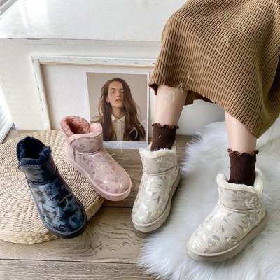 スノーブーツ レディース スノーシューズ 軽量 防寒靴 防滑 裏起毛 ウィンターブーツ 女性用 雪靴 綿靴 冬用 暖かい ショートブーツ 雪用ブーツ ハイカット