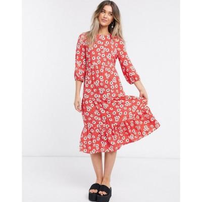 ニュールック ミディドレス レディース New Look tiered smock midi dress in red floral エイソス ASOS レッド 赤