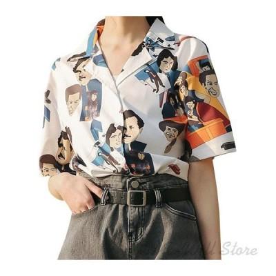 シャツ 復古風 日焼け止め小紋 花柄 ブラウス カジュアル OL 襟付き 淑女風 シフォン 半袖 通勤