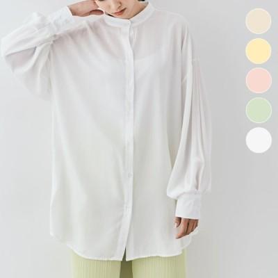 大きいサイズ レディース 服 ボリュームスリーブ チュニック ブラウス シャツ