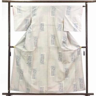 【中古】リサイクル着物 紬 / 正絹九マルキ袷白大島紬着物 / レディース【裄Mサイズ】