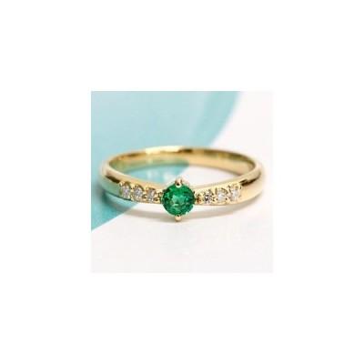 リング レディース 指輪 18金 18k K18 ゴールド エメラルド × ダイヤモンド