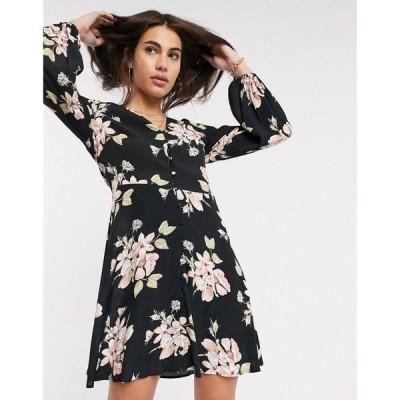 ウェアハウス Warehouse レディース ワンピース ワンピース・ドレス floral print tea dress with button front in black ブラック