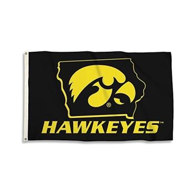 NCAA Iowa Hawkeyes 3 '。X 5 '。グロメットと旗グロメット、ブラック、1サイズ