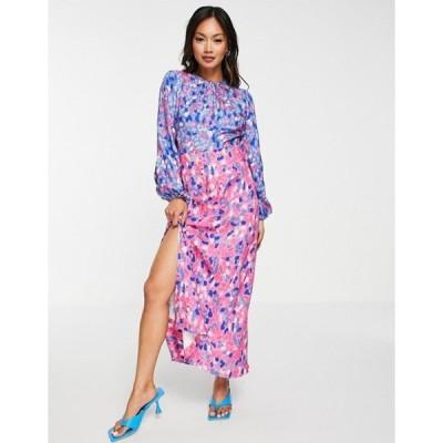 クローゼットロンドン レディース ワンピース トップス Closet London gathered midaxi dress in contrast bright dot mix