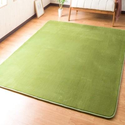 システムK 低反発 ラグ カーペット 防ダニ 抗菌 防臭 グリーン 1)185×185cm