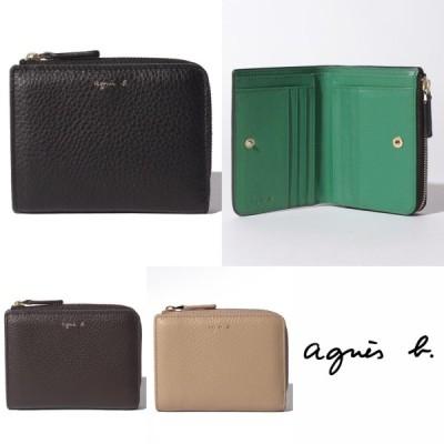 アニエスベー agnes b 財布 ロゴ 二つ折り レザー ウォレット ブラック ブラウン ベージュ ラウンドジップ シンプル レディース 取り寄せ