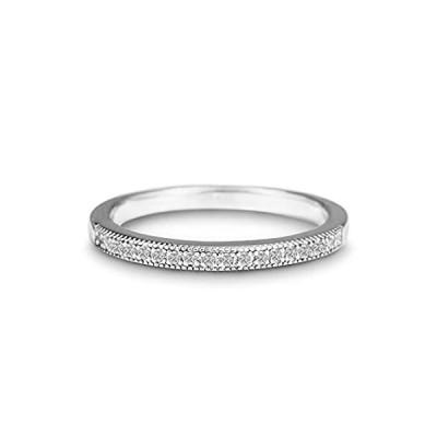 Devin Rose Rhodium Plated Sterling Silver 1/10 Cttw Diamond Wedding Band Ri