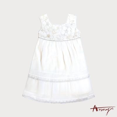 Annys金色繡花雪紡紗雙層禮服*0101白