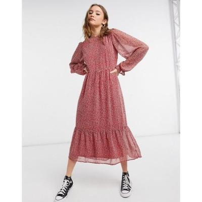 ニュールック ミディドレス レディース New Look long sleeve midi dress in red ditsy print エイソス ASOS レッド 赤