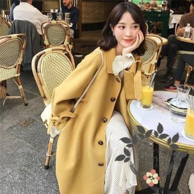 ラシャコート コート ジャケット レデイース 秋冬 40代 オシャレ ベルト付き 長袖コート ロング丈コート カジュアルウエア 厚手 暖かい 韓国風 きれいめ