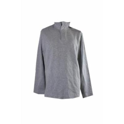 HEATHER  ファッション トップス Perry Ellis Light Heather Grey Mixed-Media 1/4-Zip Sweater XL