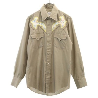 マスタング 70s 刺繍 長袖 ウエスタンシャツ 薄茶系 MUSTANG ヴィンテージ メンズ 古着 200409