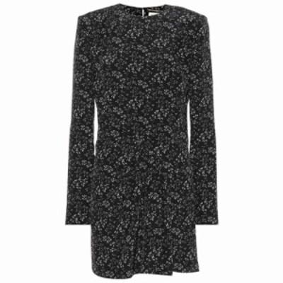 イヴ サンローラン Saint Laurent レディース ワンピース ワンピース・ドレス floral-printed silk minidress Noir Craie