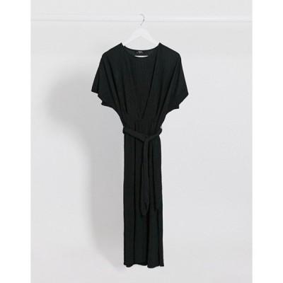 ベルシュカ レディース ワンピース トップス Bershka crinkle tie-waist midi dress in black