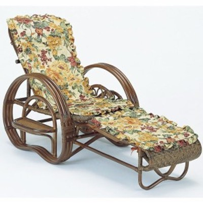 カバー付 籐寝椅子 折りたたみ式 座面高35cm ダークブラウン A202BM リクライニング 椅子 座椅子 籐 ラタン