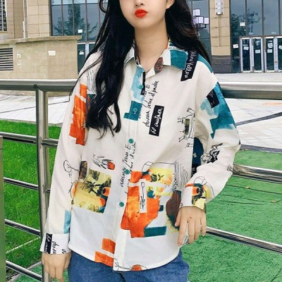 柄シャツ 長袖 アート 絵画 ラフ イラスト カジュアル トップス ダンス 衣装 韓国 ヒップホップ レディース