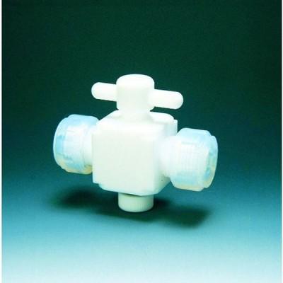 フロンケミカル フッ素樹脂(PTFE)二方バルブ接続6mm 1個