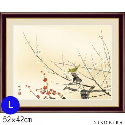 おしゃれ 名画 アート 絵画 絵 田村竹世 モダン インテリア 紅白梅に鶯 こうはくばいにうぐいすLサイズ 52cm × 42cm 玄関 癒し