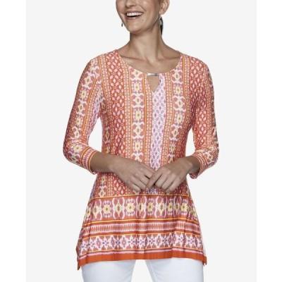 ルビーロード カットソー トップス レディース Women's Plus Size Knit Bohemian Top Orange Multi