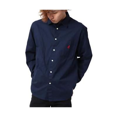 [カンゴール] シャツ メンズ ロゴ 刺繍 カジュアルシャツ 長袖 ネイビー M