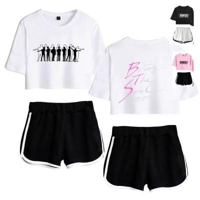 送料無料 上下セット レディース BTS 防弾少年団 Tシャツ 半袖 パンツ 服 グッズ 女 韓流グッズ ウェア セットアップ