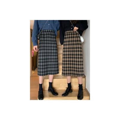 【送料無料】ヴィンテージチェック柄スカート ハイウエスト 着やせ スカート 女 秋 新しいデザイン | 346770_A63834-0889242