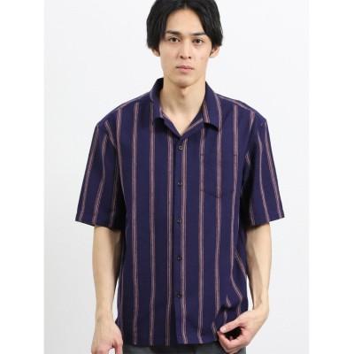 【タカキュー】 フレンチリネン混レトロストライプ オープンカラー半袖シャツ メンズ ネイビー L TAKA-Q