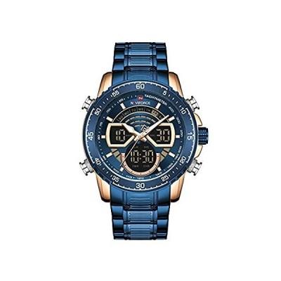 NAVIFORCEメンズウォッチクロノグラフ防水スポーツアナログデジタルクォーツ時計ビジネスファッションステンレススチールミリタリー多機能腕時計 (g