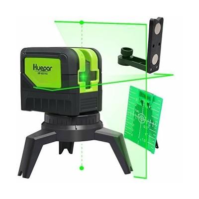 Huepar 2ライン グリーン レーザー墨出し器 2ポイント 緑色 クロスラインレーザー 自動水平調整機能 高輝度 ラ
