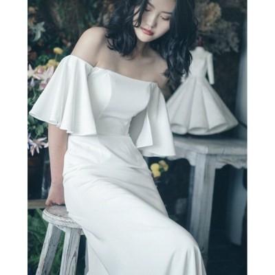 ウェディングドレス ウェディングドレス白 パーティードレス オフショルダー 花嫁ロングドレス 結婚式 トレーン 二次会 パフスリーブ お呼ばれ 挙式hs5298