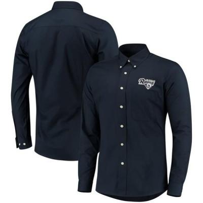 ユニセックス スポーツリーグ フットボール Los Angeles Rams Antigua Dynasty Woven Long Sleeve Button-Down Shirt - Navy Tシャツ