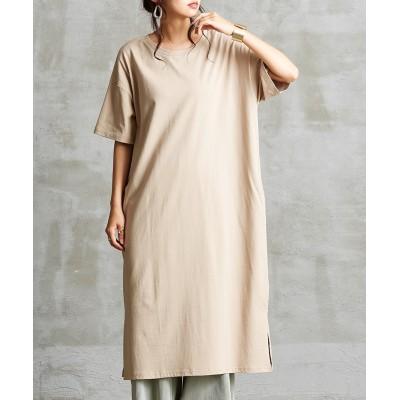 綿100%脇スリット入肉厚ゆったり5分袖ワンピース (ワンピース)Dress